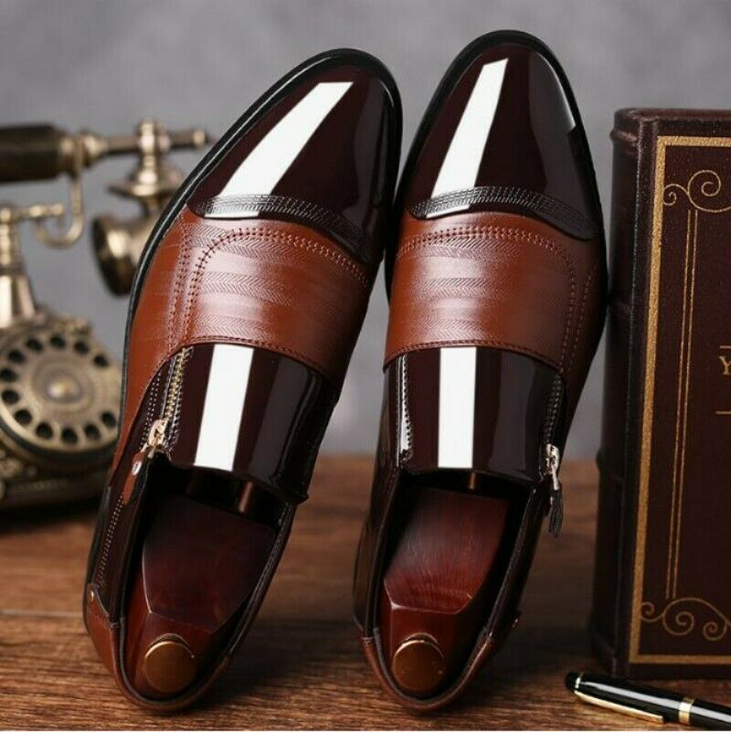 Mens Shiny PU Leather Pointy Toe Low Top Formal Dress shoes Slip On Zipper shoes
