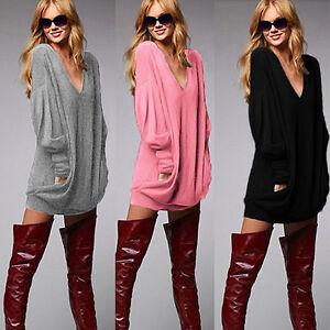 NEU-Damen-Longshirt-Bluse-Pullover-Langarm-Top-Casual-T-Shirt-Oversize-Hemd