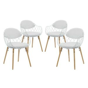 Excellent Details About Set Of 4 Basket Modern Open Wire Weave Dining Chair Set White Outdoor Patio Deck Creativecarmelina Interior Chair Design Creativecarmelinacom