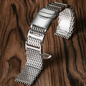 Milanese Shark Mesh Stainless Steel Bracelet Inox Ajustable 22mm 20mm 24mm Band Watches, Parts & Accessories Wristwatch Bands