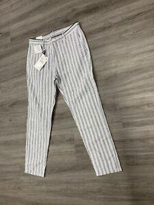 Para Hombres Pantalones De Lino Zara Textura Tejido De Algodon A Rayas Azul Blanco Talla 31 6416 3 4 Ebay