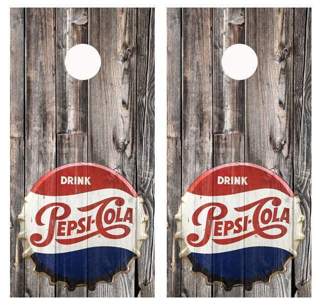 Vintage  Pepsi - Cola Bottle Cap Barnwood Cornhole Board Wraps  discounts and more