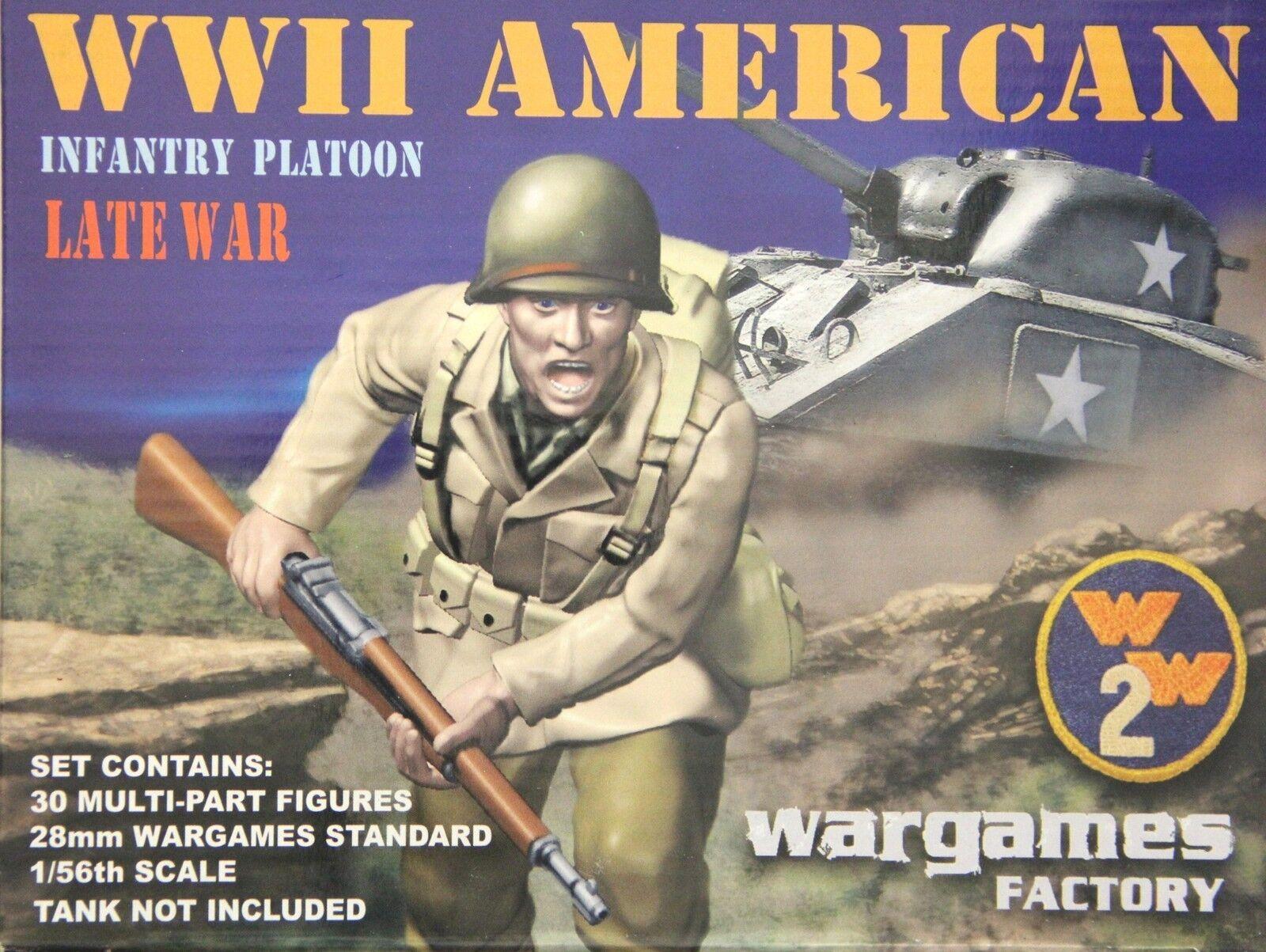 Wargames Factory W2002 28mm WWII American Infantry Platoon Late War (30 Figs)