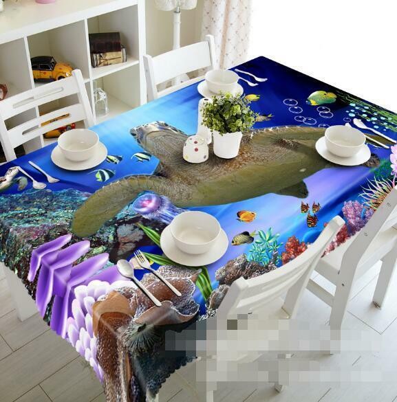 3D Sea turtle8 Tablecloth Table Cover Cloth Birthday Birthday Birthday Party Event AJ WALLPAPER AU b05005
