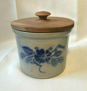 "Eldreth Pottery Signed 1996 Salt Glaze Stoneware 6"" w/Cover Flower Crock MINT"