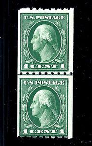 US-410-MNH-OG-1912-1c-Regular-Stamp-Perf-8-5Hor-SL-Wmk-Coil-Line-Pair