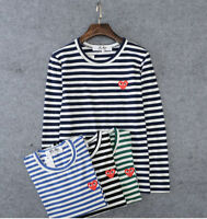 STRIPED MEN'S WOMEN COMME DES GARCONS CDG PLAY RED HEART LONG SLEEVE T-SHIRT TEE