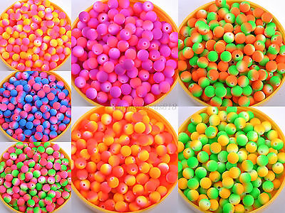 Matte Neon Frosted ACRYLIC Round Spacer BEADS- Choose 8MM & 10MM