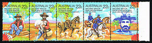 Australia Sc# 741a-e = 1980 Waltzing Matilda Setenant Strip 5 = Mint Perfect Nh