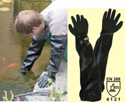 Teichpflege Sandstrahl Handschuh Arbeitshandschuh PVC-Handschuh nahtlos 70cm