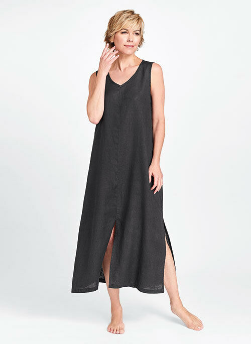 FLAX Designs   LINEN  DRESS   M  & L    NWOT    2017  Open Dress   GREY