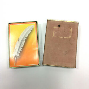 White-Feather-Orange-Vintage-Playing-Swap-Cards-Deck-Crafts-Upcycle-Collectible
