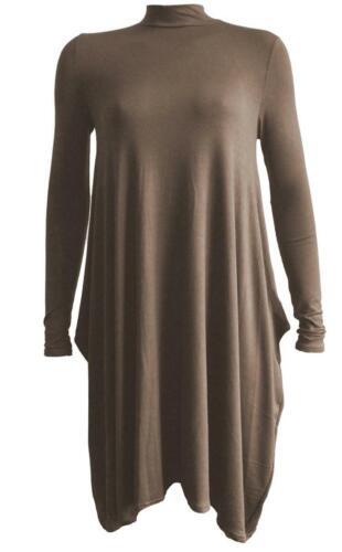 Women Ladies Turtle Polo Neck Long Sleeve Hanky Hem Swing Flared Dress Plus Size