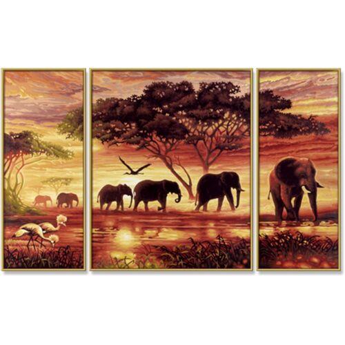 Malen nach Zahlen Elefanten Karawane Triptychon 50 x 80 cm Afrika Schipper