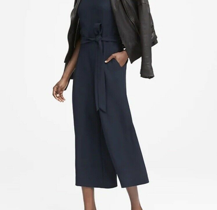 New Banana Republic Women's Cropped Wide-Leg Jumpsuit - Navy - Size 10