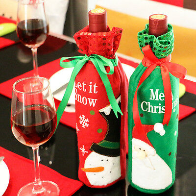 2 PCS Christmas Gift Santa Wine Bottle Bags Covers Dinner Party Table Xmas Decor