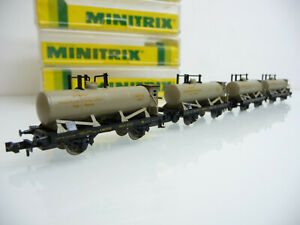 Minitrix-N-51-3217-4-teiliger-Kesselwagen-Zug-PETROLEUM-INDUSTRIE-Nuernberg-OVP