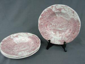4-Vintage-Crown-Ducal-Bridges-Scenes-Pink-8-3-4-034-Soup-Bowls-England-Ironstone