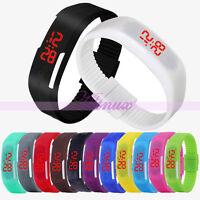 Mens Women Jelly Rubber LED Watch Bangle Bracelet Date Digital Dress Wrist Watch