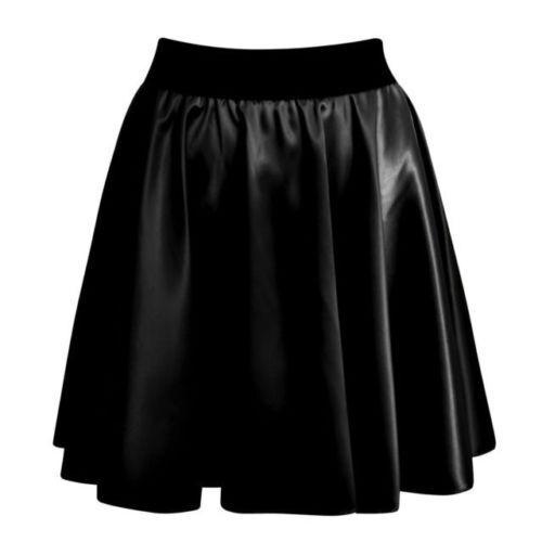 Femmes Taille Haute Moulant Simili Cuir Effet Mouillé Patineuse Évasée Mini Jupe