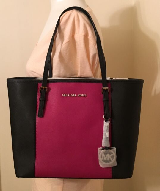 8b6eed1a34d0 Michael Michael Kors Jet Set Travel Black Deep Pink Stripe Small Tote Bag