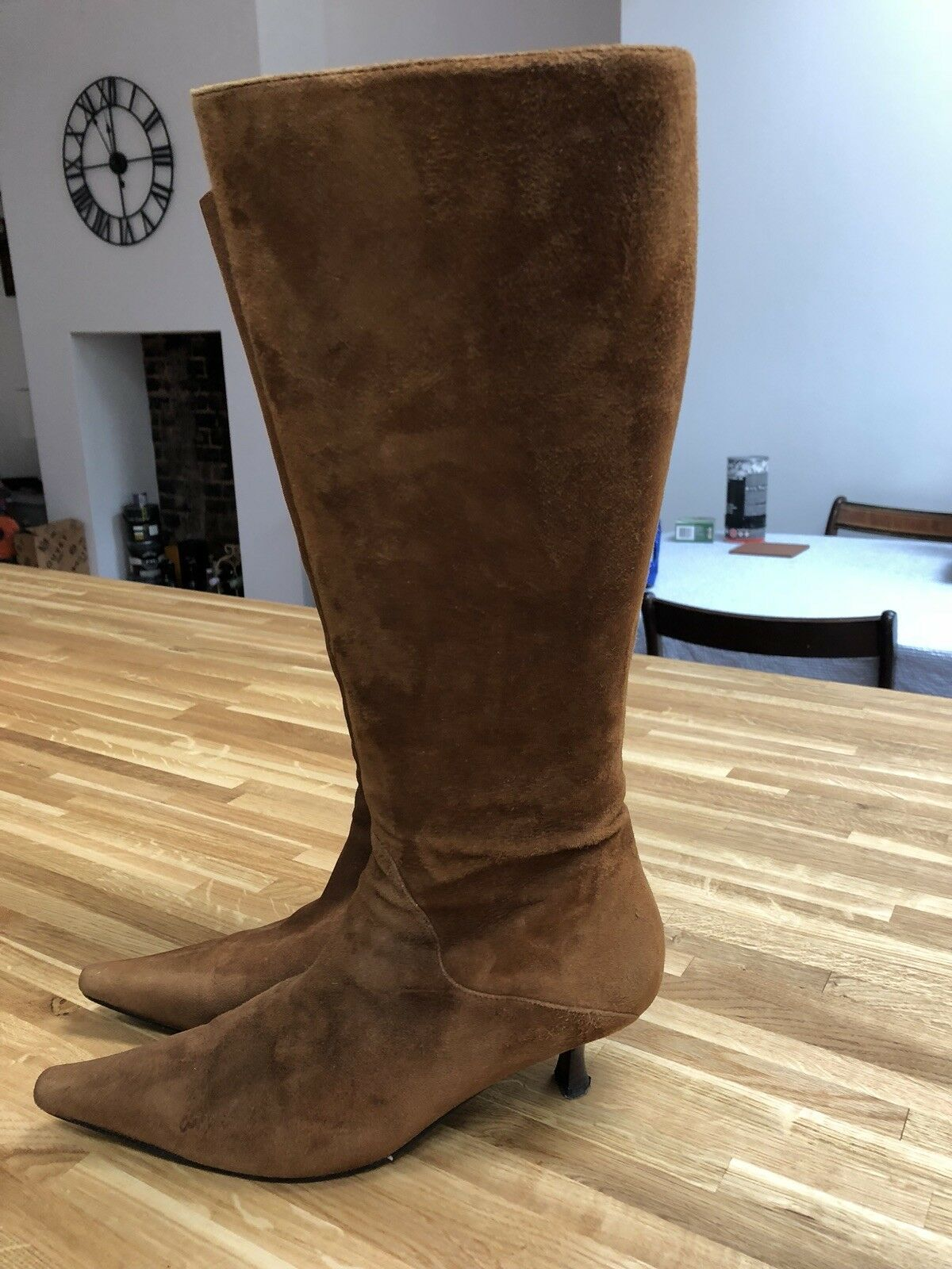 Knee Boots High Brown Suede Leather Boots Knee Size 5 38 a3243a