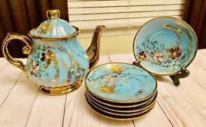 Beautiful-Light-Blue-Floral-Gold-Gilt-Tea-Pot-and-6-Saucers-Set-Gold-Trim
