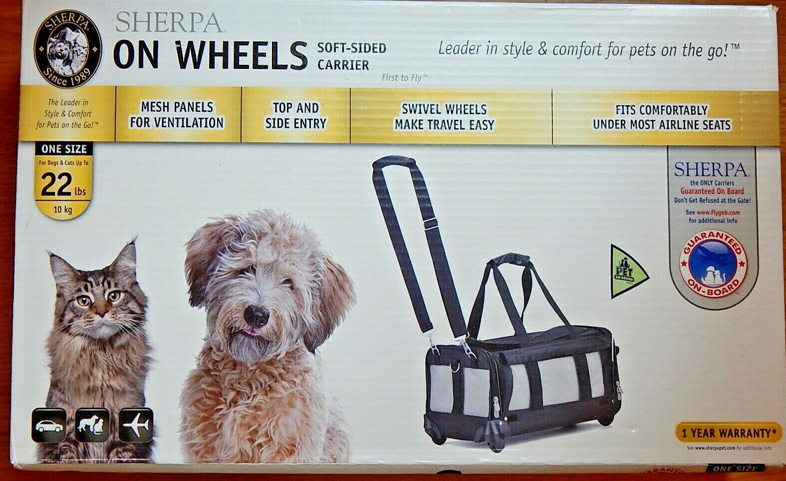 SHERPA ON WHEELS DOGS CATS UP TO 22 lb SOFT SIDED CARRIER BAG NEW