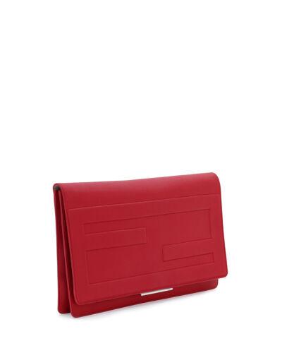 de bolso rojo embrague Macro 8056043482862 nuevo Fendi auténtico cuero 100 Tube bolso qxwFFO