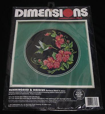 Dimensions Hummingbird Hibiscus Flowers Cross Stitch Kit NIP Sealed Vintage