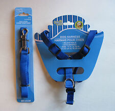 """Paws N Claws BLUE Adjustable Dog Harness (13""""-19"""") & Leash (48"""") SET, Free S&H"""