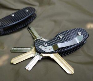 Carbon Fiber Hard Oxide Key Holder Clip Keys Organizer Folder Keychain EDC Tool