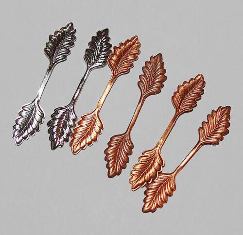 Leaf Bails ~Gold /&Copper Plated Pendant Fold Over ~ Glue on 35mm 6 pcs