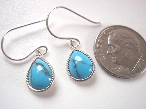 Very Small Blue Turquoise Teardrop Dangle Earrings 925 Sterling Silver
