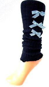 GUETRES-CHEVILLERES-tricot-bleu-marine-noeuds-YELLOW-MOON-fille-ado-enfant-NEUF