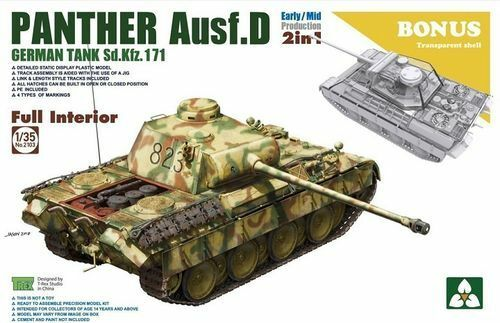 TAKOM PANTHER AUSF.D 2 IN 1 W TRANSPARENT SHELL FULL INTERIOR 1 35 2103