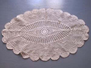 1 Napperon En Crochet 50 Cm X 32 Cm. Antique Gift Idea. .vintage.decoration De