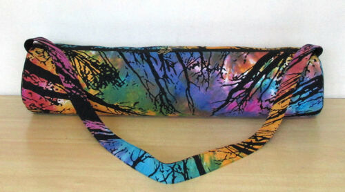 Indian Multi Forest Tree Hippie Tie Dye Yoga Mat Carrier Bag with Shoulder Strap