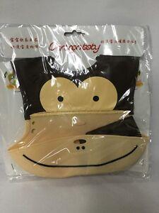 Monkey-Soft-Silicone-Wipe-Clean-Waterproof-Baby-Bibs-BPA-Free-Brown