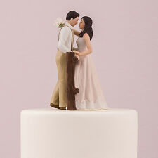 Rustic Couple Porcelain Figurine Wedding Cake Topper Blush Dress Customization