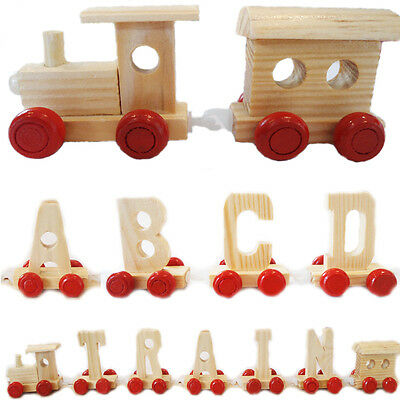 Wooden Train Kids Toy Letters Carriage Engine Alphabet Name Children Learn Play