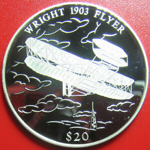 2000-LIBERIA-20-SILVER-PROOF-034-WRIGHT-BROTHERS-1903-FLYER-034-AIRPLANE-w-COA-905