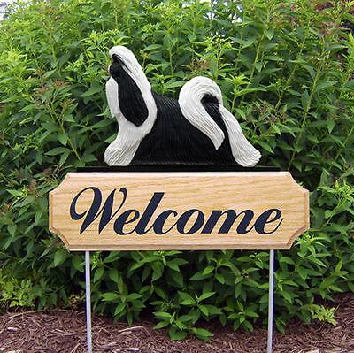 Shih Tzu Dog Breed Oak Wood Welcome Outdoor Yard Sign Black/White