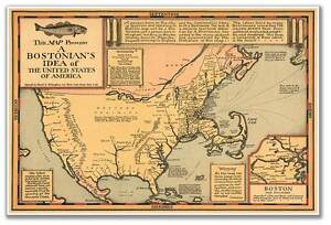 Bostonians Idea of the United States of America Old Boston USA MAP