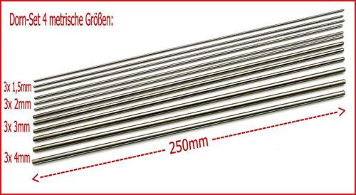 4 Metrische Grössen, je 3x: 1,5-2 - 3-4 x 250 mm Dorn-Set zum Perlenmachen