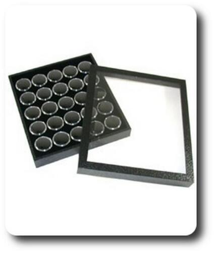 25 Boîtes à Gemmes Noires Coffret pour pierres