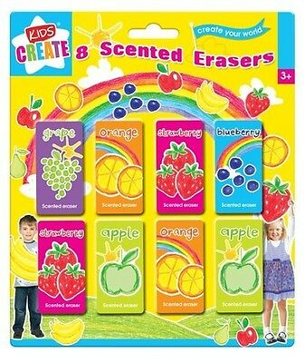 8pc Fruit Scented Erasers Rubbers Party Gift Bag Filler Toy Kids Children girls