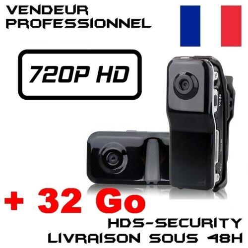 MINI DV CAMERA SPORT ESPION MD80 HD 720P MICRO SD 32 GO MD80B-HD VIDEO USB DVR