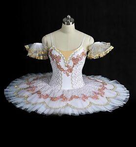 7ee8b1a29 Professional Classical White Pink Platter Ballet Tutu Costume Aurora ...
