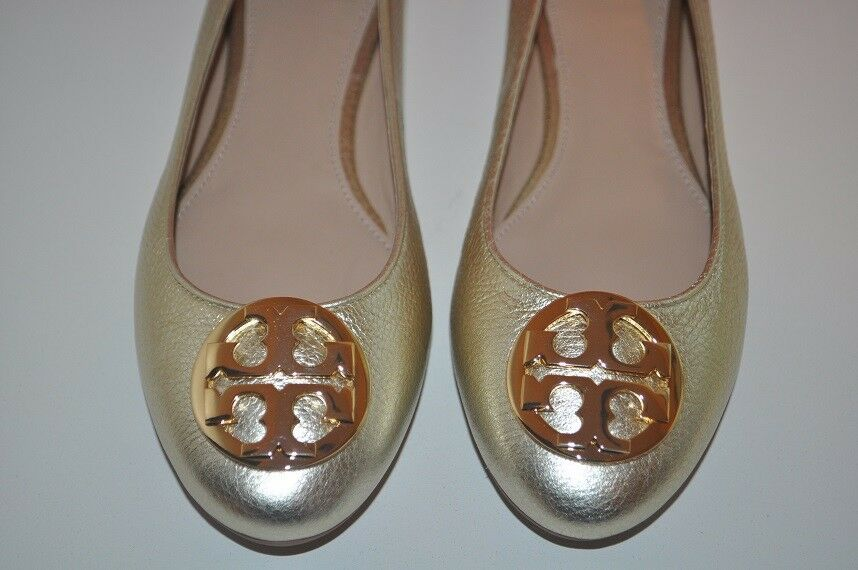 NEW Tory Burch CLAIRE Ballerina Ballet Flat Shoe Metallic Spark GOLD GOLD Spark Leather 10 db4677